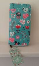 Turquoise bird print wallet,purse,Sass & Belle,ladies girls Christmas gift idea