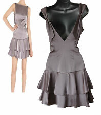 NWT Karen Millen Taupe Satin V-Open Back Frill Hem Cocktail Mini Dress sz10 EU38