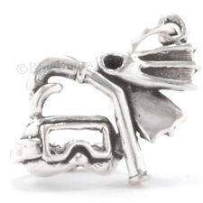3D SCUBA DIVE DIVER GEAR MASK Flippers Snorkel Sterling Silver Pendant 925 Charm