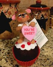 Annalee Sweet Treat Mouse Valentine's Day Heart Cupcake Home Decor Wreath Pick