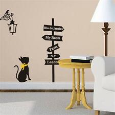 BLACK Cat  Road Sign Wall Sticker Decals HOME Decor Vinyl Art Removable Decor