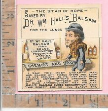 HALL'S BALSAM LUNGS FOLD UP HENRY'S CARBOLIC SALVE DRUGGIST ADV TRADE CARD
