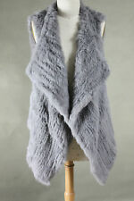NEW COLOR ARRIVAL! 100% RABBIT FUR WATERFALL LONG VEST SILVER GREY