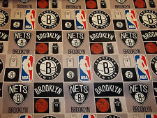 BROOKLYN NETS   100% COTTON  NEW!!!  ONE 1 REMNANT  PIECE  MULTI-COLOR SQUARES
