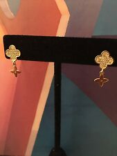 New Womens Fashion Petite Crystal Clover Alhambra Dangle Rose Gold Earrings