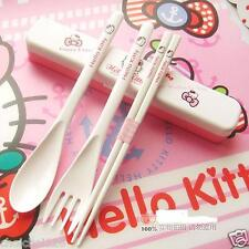 Hello Kitty Kids Plastic Cutlery Tableware Set Fork Spoon Chopsticks KK372