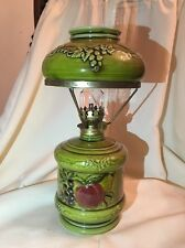 Vintage LEFTON 4457 Apple Grape Ceramic/Porcelain OIL LAMP w/ Shade & Globe