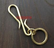 S shaped Fob Solid Brass key chain ring hook wallet clip Biker Punk H027