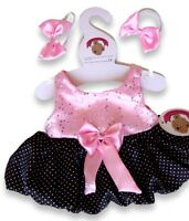 Teddy Bear Clothes fit Build a Bear Teddies Pink Black Puff Ball Dress 2 Bows