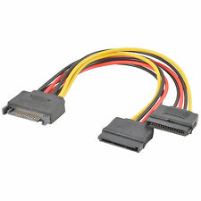2X SATA Power 15-pin Male to Dual Female Y Splitter Adapter Cable for Hard Drive