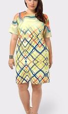 FLOR Women's Dress Yellow Abstract Shift Dress Plus Size 3X (22-24) Half-sleeves