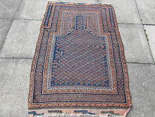 Antique Hand Made Oriental Afghan Baluch Wool Blue Red Rug 153x105cm Prayer Rug