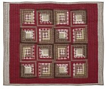 Tacoma Quilted Patchwork Throw Blanket by VHC Brands - Log Cabin Block Patchwork