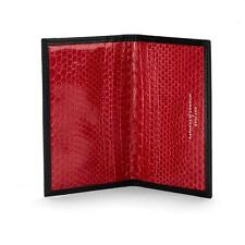 Aspinal of London Exotic Double Credit Card Case in Black with Red Snake