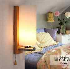 Nordic Amber Crystal Glass Wall Lamp Loft Oak Wood Light Bedroom Aisle Cafe Bar