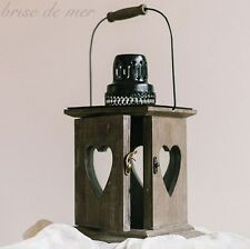 BEAUTIFUL RUSTIC VINTAGE STYLE WOODEN HEARTS CANDLE HOLDER LAMP HANGING LANTERN