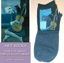 ART SOCKS Old Guitarist PABLO PICASSO Blue LADIES Mens ANKLE HIGH WOVEN DESIGN