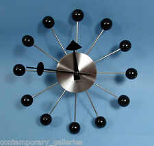 New Contemporary Modern Retro Black & Silver George Nelson Ball Wall Clock 14""