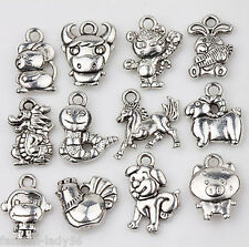 12pcs Tibet Silver Chinese Zodiac Loose Spacer Charms Pendants Jewelry Finding