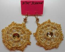 Betsey Johnson Patina Crochet Gold Tone Drop Leverback Earrings MSRP $85