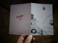 "Ancienne Carte postale double Renault 4cv Caravane ""Oeuf"" Sport d'hiver Camping"