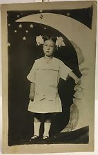Studio Real Photo Postcard  RPPC ~ Little Girl On Paper Moon ~ Hair In Two Bows