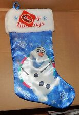 "Disney Frozen Olaf Christmas Stocking Satin Blue 17"" Happy Holidays Faux Fur 89O"