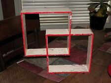 OLD ANTIQUE Vintage shadow box Wall Shelves double square CHIPPED PAINT RED EDGE