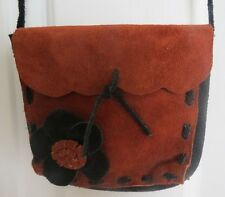 100% Authentic HandMade Black / Rust Leather Cross Body Handbag / Purse