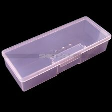 New Rectangle Nail Art Makeup Brush Pen Container Tool Case Empty Storage Box