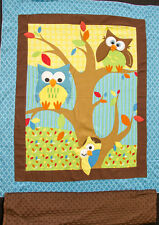 Bright Owl Embroidered Flannel BABY PANEL Includes Minky Backing Fabric