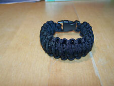 Paracord Survival Bracelet Wristband KING Cobra Double Stitch 550lb BLACK