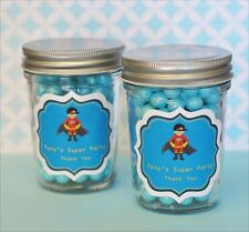 24 Personalized Super Hero Boy Theme Mini Mason Jars Birthday Party Favors