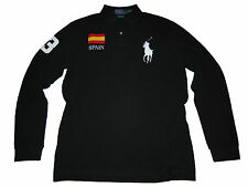 Polo Ralph Lauren Big Pony Black Spain Flag Long Sleeve Rugby Shirt L