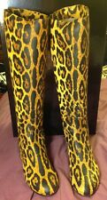 GIUSEPPE ZANOTTI Leather Leopard Flat Boots Made In Italy Brand New NIB 37.5