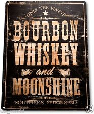 "TIN SIGN ""Bourbon Whiskey"" Moonshine Decor Wall Art Bar Beer Shop Store A025"