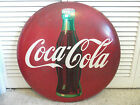 "1950s Coca Cola 24"" Sign Vintage Original Coke Bottle Gas Not Porcelain Button"