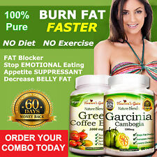 Garcinia Cambogia and Green Coffee Bean Combo Fast Weight Loss 100% Pure Organic