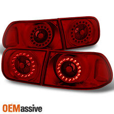 92-95 Honda Civic 2Dr 4Dr Red Lens LED Ring Style Tail Lights Replacement Pair