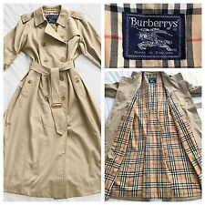 Burberry Trench Coat Classic Beige Mac Raincoat Jacket UK 14 Vintage Burberry's