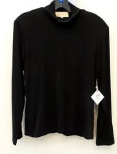"NEW DOUBLE D RANCHWEAR LONG SLEEVE ""SLINKY T-NECK"" TOP, BLACK, SIZE MEDIUM, NWT"