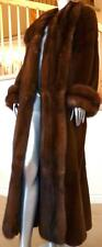 $26K Luxurius Bisang Sheared Female Mink Russian Sable Fur Full Length Coat L XL