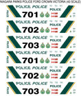 1/43 SCALE NIAGARA PARKS POLICE DECALS - DOES 8 FCV CARS NEW RELEASE!!!!