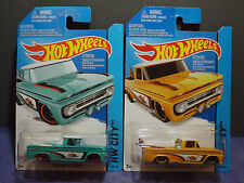HOT WHEELS CITY CUSTOM '62 CHEVY Pick Up in Both Blue & Yellow versions Lot of 2