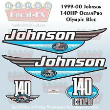 1999-00 Johnson 140 HP OceanPro Olympic Blue Outboard Repro 4 Piece Vinyl Decal