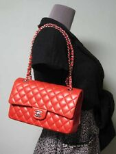 Chanel AUTH Quilted Red Smooth Lambskin Classic Double Flap Bag Silver Chain NWT