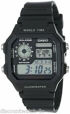Casio AE1200WH-1A Mens Black Resin Digital Sports Watch 100M 5 Alarms
