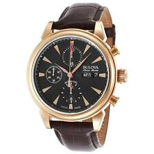 Bulova Accu Swiss 64C105 Gemini Collection Automatic Leather Chronograph Watch