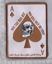 ARABIC ACE OF SPADES DEATH CARD TACTICAL BADGE MORALE MILITARY PATCH DSRT
