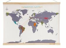 SUCK UK Cross Stitch WORLD MAP Kit Canvas PERSONALISE YOUR TRAVEL ATLAS
